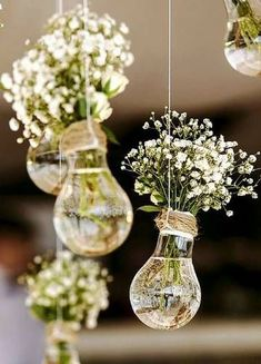 budget rustic wedding decorations flowers gypsophila in vases similar to light b. budget rustic wedding decorations flowers gypsophila in vases similar to light bulbs suspended on a rope colin cowie Perfect Wedding, Dream Wedding, Wedding Day, Decor Wedding, Trendy Wedding, Wedding Ceremony, Wedding Rustic, Spring Wedding, Wedding Themes