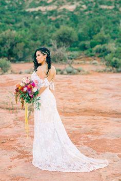 Bride In Off The Shoulder Lacy Wedding Dress Offtheshoulder Lace Weddingdress