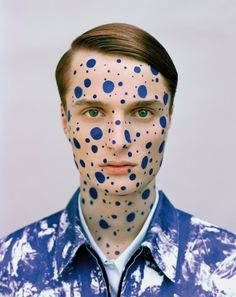 dots, makeup, inspiration, grooming, makeup artist, creative, blue, close up, makeup by marina keri, michiel meewis, photography, prestage magazine, editorial, almantas petkunas, menswear, fashion, male model, blue, idea