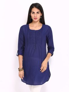 BIBA Women Navy Kurta - front; wiksten toga with longer sleeves and sleeve tabs... may be with yoke details