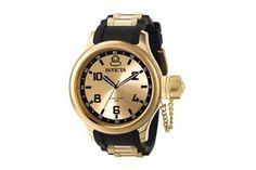 Relógio quartzo de aço e poliuretano Russian Diver Preto e dourado