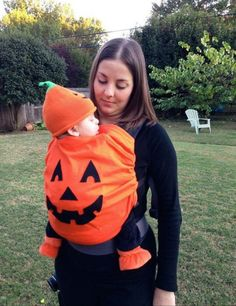 Babywearing costume idea from Wrap Your Baby: Pumpkin Perfect if Avica still wants to be a pumpkin