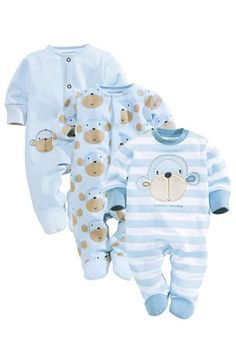 Buy Monkey Sleepsuits Three Pack (0-18mths) from the Next UK online shop
