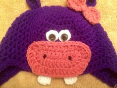 Handmade Crochet Hippo Hat by EverydayCrochet247 on Etsy