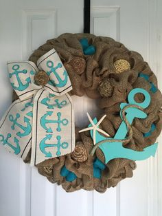 Anchor Wreath Burlap Beach Coastal Seaside by wreathsplusbylyn