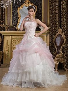 Marivella - Organza and Satin Ball Gown with Beading and Ruffled Tiers - GBP £197.49