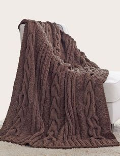 Free knitting pattern for Horseshoe Cable Blanket and cable afghan knitting patterns