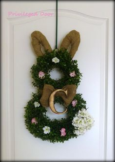 Easter Wreath.  Easter Bunny Wreath.  Boxwood Bunny Wreath with Woodfired Letter Collar.  ALL LETTERS.  Southern Elegance for Easter 2014.