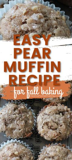 Easy recipe for homemade pear muffins. One of my favorite fall muffin baking recipes! #muffins #creativehomemaking Muffin Recipes, Breakfast Recipes, Bread Recipes, Pear Muffins, Fall Baking, Canning Recipes, Fall Recipes, Food To Make, Easy Meals
