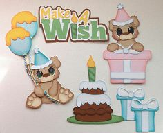 Premade Birthday Bears with Title Make A Wish Paper Piecing by My Tear Bear | eBay