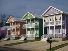 seaside - pastel shades of beach huts -   Can I live in the Purple one, Upstairs???  Please???