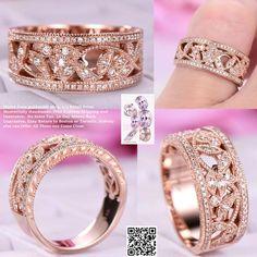 Moissanite Wedding Ring  Floral Anniversary Band 14K Rose Gold