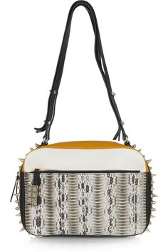 christian louboutin roxane studded snake shoulder bag