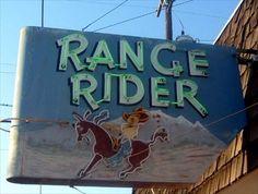 range rider enterprise oregon - Google Search Old Neon Signs, Vintage Neon Signs, Old Signs, Retro Advertising, Advertising Signs, Vintage Advertisements, Roadside Attractions, Roadside Signs, Enterprise Oregon
