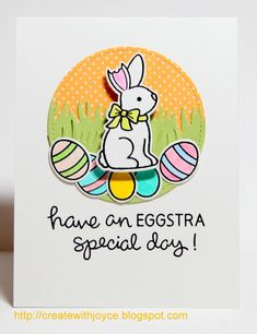 Lawn Fawn - Eggstra Special Easter + coordinating dies, Grassy Border, Stitched Circle Stackables, Let's Polka, Mon Amie 6x6 paper _ sweet Easter card by Joyce via Flickr - Photo Sharing!
