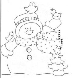 Easy Frosty coloring printable perfect for seniors with Alzheimer's. Christmas Applique, Christmas Embroidery, Christmas Snowman, Christmas Templates, Christmas Printables, Christmas Projects, Bird Crafts, Snowman Crafts, Christmas Drawing