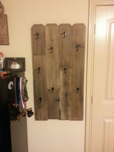 DIY hat rack  $25 fence post, coat hooks and stain.