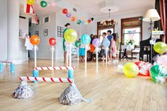 Candy themed party: stick of gum invitation, gumball obstacle course, pass the lifesaver, candy trivia punch box, pixie stick drop.