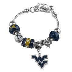 West Virginia University Love Bead Bracelet with Dangle WVU Logo Charm