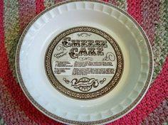 Vintage Cheese Cake Pie Plate Ceramic