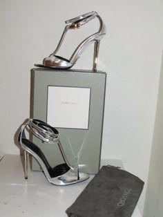 755a1ab6e4a Auth NIB Tom Ford Metallic Leather T-bar Silver Elena Sandals Heels sz 41