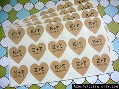 35 custom heart stickers 1.25 inch brown kraft paper, wedding favors, envelope seals (S-50) via Etsy