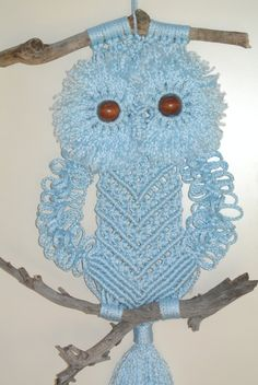 Macrame Owl Blue Wall Hanging / Home deco by RoseliensMacrame on Etsy