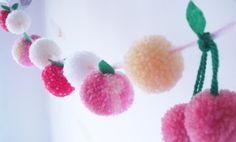 Yarn Pom Pom Garland with cherries, peaches + strawberries by FrillyPops, £26.00 ...this may be the cutest thing ever!