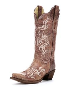 Corral Women's Cognac Crater/Beige Tribal Embroidery Boot - R1184