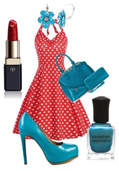 """Red and Aqua"" by nerd-muffin ❤ liked on Polyvore featuring Kelsi Dagger Brooklyn, Deluxity, Deborah Lippmann and Clé de Peau Beauté"