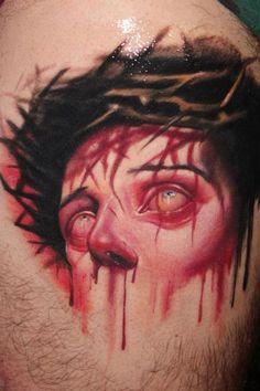 Thorn Hairs Bleeding Head 3D Tattoo