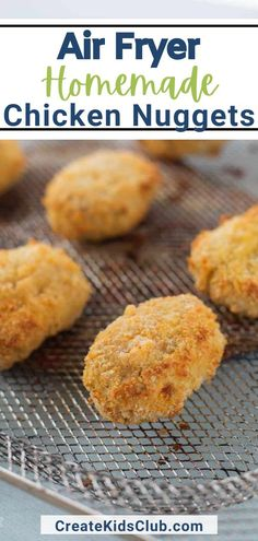 Visit the blog to get the recipe and directions to make Air Fryer Homemade Chicken Nuggets in your own home. Homemade chicken nuggets in the air fryer are a kid-favorite! These simple chicken nuggets made with ground turkey are easy to make. Using an air fryer crisps outside just like the store-bought variety without the fat and calories! Good Healthy Recipes, Lunch Recipes, Healthy Snacks, Breakfast Recipes, Homemade Chicken Nuggets, Easy Chicken Recipes, Air Fryer Healthy, Convenience Food, Air Fryer Recipes