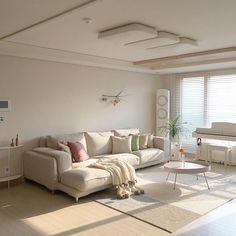 Korean Apartment Interior, Apartment Interior Design, Living Room Interior, Home Room Design, Living Room Designs, House Design, Aesthetic Room Decor, Dream Rooms, Minimalist Home