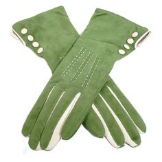 Suede Pistachio Green Leather Gloves ($92) ❤ liked on Polyvore featuring…