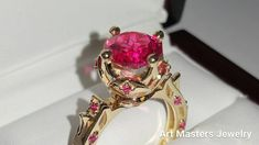 Modern Antique 14K Yellow Gold 3.0 Carat Pink Sapphire Solitaire Wedding Ring R214-14KYGPS by Art Masters Jewelry