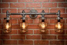 4 Mason Jar Light - Pipe Light - Vanity Light - Edison Light - Rustic Light - Industrial Light - Wall Light - Wall Sconce - Steampunk Light by TMGDZN on Etsy Pipe Lighting, Mason Jar Lighting, Rustic Lighting, Unique Lighting, Vanity Lighting, Wall Sconce Lighting, Industrial Chic, Industrial Chandelier, Industrial Lighting