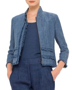 3/4-Sleeve Fringe-Trim Jacket, Bleached Denim, Size: 16, Bleched Denim - Akris punto
