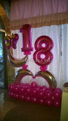 18th 16 Balloons Number Birthday Ballon Decorations Balloon Arrangements