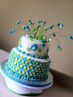 Lime Aqua Harlequin cake - the bottom layer is really cool!