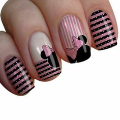 70 Simple Nail Design Ideas That Are Actually Easy Diy Disney Nails, Simple Disney Nails, Disney Acrylic Nails, Long Acrylic Nails, Sparkle Nails, Fancy Nails, Cute Nails, Pretty Nails, Mickey Nails