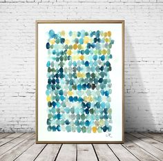 Dot painting, modern minimalist Watercolor blue circles, abstract watercolor painting giclee print, Watercolor print, abstract painting - Abstract Painting watercolor art Giclée Print nº por VictoriAtelier - Watercolor Paintings Abstract, Dot Painting, Watercolor Print, Abstract Art, Knife Painting, Acrylic Paintings, Painting Inspiration, Art Prints, Illustration