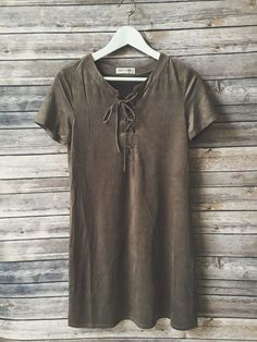 suede olive lace-up dress