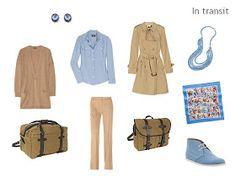 A Travel Capsule Wardrobe - Packing in camel, blue & rose, between seasons