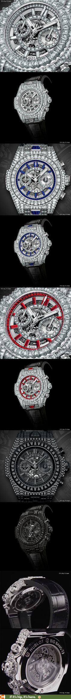 Hublot Introduces 10 new diamond watches, each priced at $1,000,000 to celebrate the 10th Anniversary of their Big Bang Watch. | http://www.ifitshipitshere.com/hublot-big-bang-anniversary-models/
