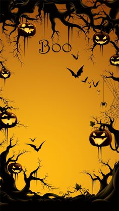 2014 boo halloween iphone 6 plus wallpaper with pumpkin on the tree bats 2014 halloween