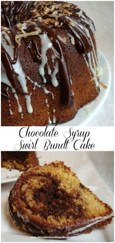 Chocolate Syrup Swirl Bundt Cake-with the addition of coconut in the batter, this is a moist delicious cake!