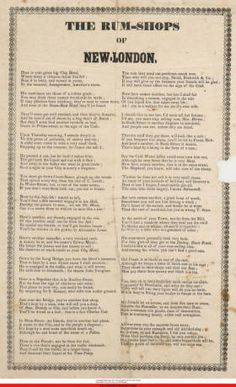 Rum-shops of New-London. :: Connecticut History Online - Poem in 27 stanzas identifying and vilifying dealers in ardent spirits in New London, Conn. 1845  One thing New London has never lacked - Liquor Stores!  http://www.cthistoryonline.org/cdm/singleitem/collection/cho/id/14955/rec/2667