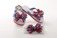 "These Gitana Flip Flops are embellished with a blue, red and white gross grain ribbon and decorated with a 4 of July bow. Included matching white crochet headband with 4 of July bow lined clipper. Headband approximately 1 1/2""or 2 1/2""inches depend the stock ."