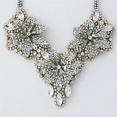 Triple Flower Crystal Statement Necklace designed by Haute Bride. A mid-summers night dream.