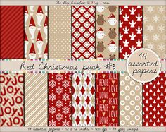THIS SET IS NOW ON SALE christmas digital paper in classy red & cappucino colors. Beautiful patterns for your DIY paper craft projects such as gift wrapping, cards, holiday invitations and albums or simply for scrapbooking. #santa #mittens #snowman #snowflake #christmas #tree #candy #cane #reindeer #penguin #angel #gift #star  This gorgeous pack belongs to a set of 4 paper packs so make sure to check the 3 others for more matching goodies!